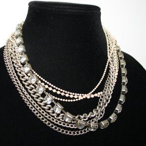 Silver and cream rhinestone boho style necklace 17